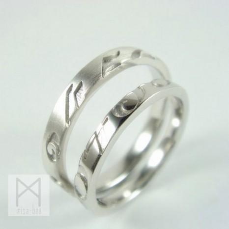 数字デザインのマリッジリング結婚指輪【初想】~hatsukoi