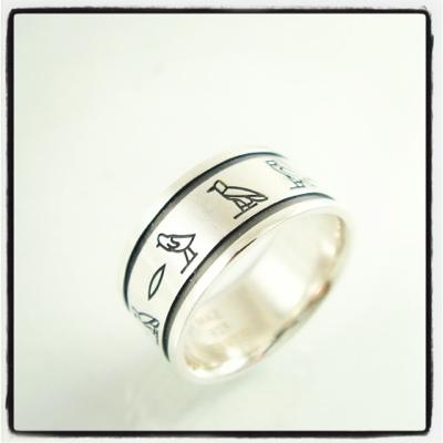 10mm幅ヒエログリフ指輪リングオーダーメイド