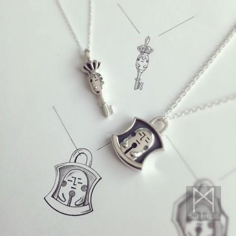 鍵と南京錠モチーフの特別なペアネックレス|製作編